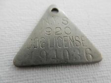 TRIANGULAR 1920 NEW YORK STATE US DOG LICENSE TAX TAG METAL NO.194036 DT48