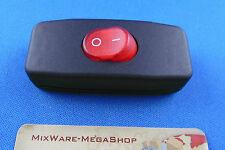 Zwischenschalter Schwarz, 2 polig, rote Wippe beleuchtet 250V/2A, Paßt für LED