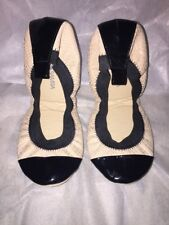 Yosi Samra Foldable Samantha Ballet Flat 5 Snake Beige Black Patent New No Box