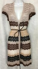 Missoni Dress Brown Multicolored Striped V-Neck Cap Sleeve Leather Tie Size 38