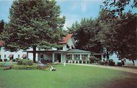 SYRACUSE INDIANA LAKE WAWASEE~JOHNSON'S HOTEL~HAMMOCKS~COLLIE DOG POSTCARD 1960s
