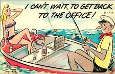 10 lot Can't Wait get back to the Office Funny VTG '58 Postcard Sexy Bikini Boat