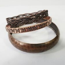 Copper Bangle Bracelets Thick Set of 3
