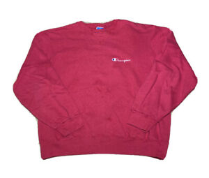 Vintage 1980s Champion Embroidered Spell Out Magenta Crewneck Sweatshirt Size XL