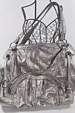 B. MAKOWSKY Purse Large REPTILE Embossed LEATHER HOBO Metallic Silver GRAY