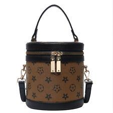 Women Cylinder Handbag PU Leather Shoulder Bag Mini Messenger Purse Bucket Bag