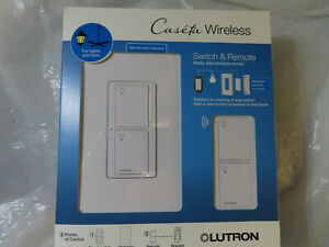LUTRON CASETA WIRELESS SWITCH & REMOTE FOR LIGHTS AND FANS P-PKG1WS-WH BRAND NEW