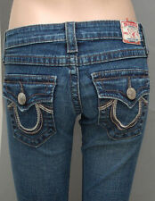 Women's True Religion Jeans Billy Rainbow Big T Dark Blue Straight Leg Size 24