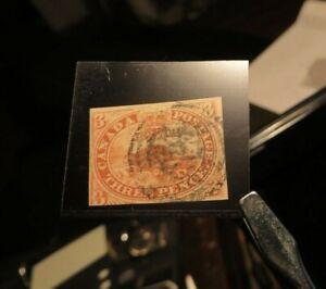 CANADA 1852 SC#4c BEAVER 3d ORANGE-RED THIN SOFT HORIZONTALLY RIBBED PAPER RARE