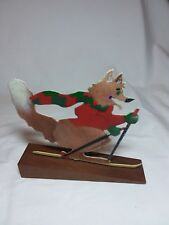 Delightful Fox Skiing and Gliding Over the Snow Metal Art Figurine on Wood Base