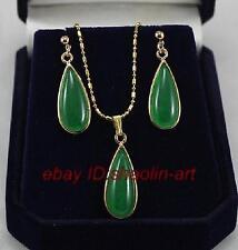 vert jade ,en forme de goutte d'eau, Boucles d'oreilles  et  pendentif ,  parure