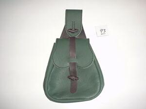 Leather Renaissance Medieval SCA LARP CELTIC belt Pouch Bag green black inv# 93