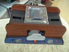DELUXE WOODEN CARD SHUFFLER BATTERY OPERATED USES 4 AA BATTERIES NOT INCLUDED