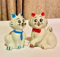"VINTAGE & COLLECTIBLE 1950's CERAMIC CATS SET OF 2 MALE & FEMALE 3"" H FIGURINES"