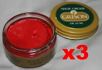 3 x 50ml RED GRISON DE LUXE SHOE CREAM - red/rouge/scarlet French leather polish