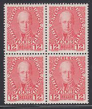 Austria Sc 116a MNH. 1908-1913 12h scarlet Franz I, Block of 4 VF+