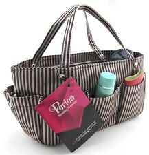 Periea handbag organiser brown/cream stripes,tidy,organizer, purse insert -Tilly