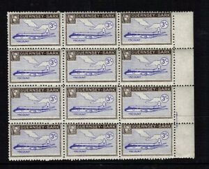 SARK 1967 3/- VISCOUNT AIRCRAFT IN DEFINITIVE BLOCK OF 12 MNH