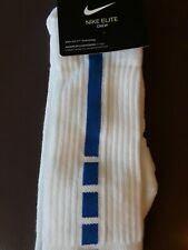 Nike Elite Basketball Socks SX7626-100 Men's 8-12 Women's 10-13 WHITE ROYAL BLUE