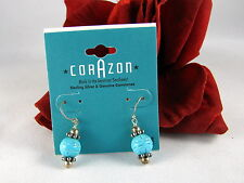 Sterling Silver & Turquoise Beaded Pierced Earrings Cat Rescue