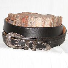 Vintage Native American Silver 3-Piece Ranger Belt Buckle Set size 40