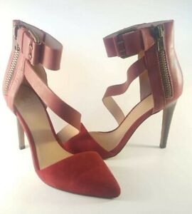 Joe's Jeans Womens Red Suede Leather Strappy Heel with Zipper Size 7.5 38 EUR