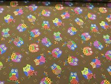 Brown Funky Colorful Owls Print Cotton Fabric Curtain Upholstery Crafts