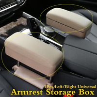 Universal Beige Car Armrest Console Storage Box Leather Elbow Arm Pad For Rest