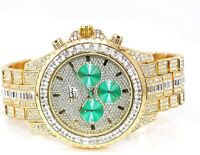 Men Fully Gold Iced Watch Bling Rapper Simulate Diamond Metal Band Luxury Green