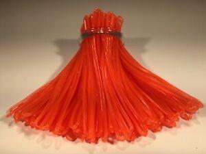 Neon Orange Luggage Tag worm loops 6 inch 100 per bag