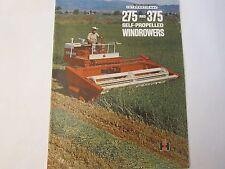 Original 1960s McCormick International IH 275 375 Windrowers Manual Brochure LG5