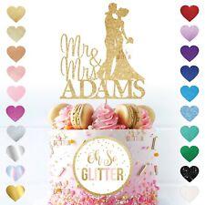 Wedding Cake Topper Cualquier Nombre Color Personalizado Personalizado Par Decoración