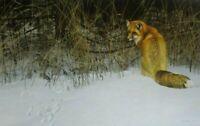 Vintage Art Robert Bateman Red Fox On Prowl Winter Lady Cardinal Snow Winter