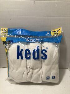 12 PACK vtg TUBE SOCKS Keds Kids White Crew Socks! Shoe Size 3-9! New Sealed!