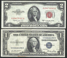 New Listing1953B $2 Red! 1935E $1 *Silver* 2 Notes! Choice Vf! Old Us Paper Money Currency!