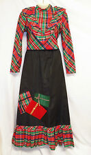 Vtg Tumbleweeds 12 Plaid Skirt Top Blouse Outfit Set 2 Pc Xmas Red Long Maxi