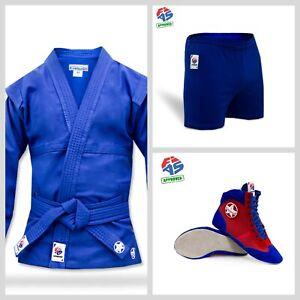 New krepysh combat sambo jacket (judo, mma) FIAS approved. Blue