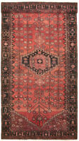 "Vintage Hand-Knotted Carpet 4'8"" x 10'1"" Traditional Oriental Wool Area Rug"