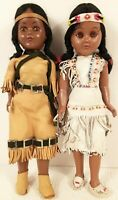 2 Vintage Native American Indian Dolls Girls w/ Moccasins Beads Souvenir 10 1/2""