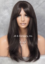 Long silky Straight Lace Front Wig natural bangs HEAT SAFE Wig Dark Brown HSO 4