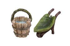 Miniature Dollhouse FAIRY GARDEN - Leaf Pail & Wheelbarrow - Accessories