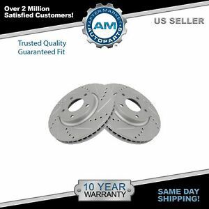 Performance Brake Rotor Drilled & Slotted Coated Front Pair for Nissan