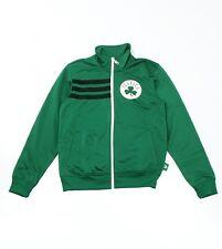 Adidas Mens Boston Celtics Full Zip Poly Track Top Jacket in Green - Medium