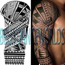 LARGE TRIBAL SKULL FULL ARM SLEEVE TEMPORARY TATTOO WATERPROOF BODY ART STICKER