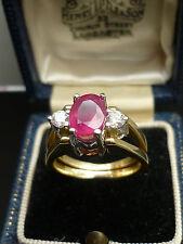 STUNNING 18ct gold 1.6ct Ruby, 1.5ct Pink Sapphire 0.40ct diamond flip ring Au39