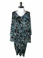 LONDON TIMES Plus Sz 2X Shift Dress Black Blue Paisley Flared Ruffle Long Sleeve
