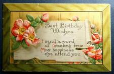 Postcard Best Birthday Wishes - Roses - I send a word of Greeting