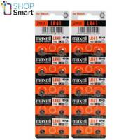 20 MAXELL ALKALINE LR41 192 BATTERIES 1.5V COIN CELL BUTTON AG3 EXP 2021 NEW