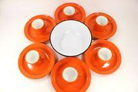 Vintage Orange Enamelware Cups Mugs Plates Serving Bowl Camping Set of 13 CLEAN