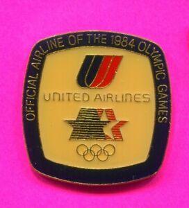 1984 LA OLYMPIC PIN UNITED AIRLINES LARGE PIN WORN ON UA UNIFORM PIN